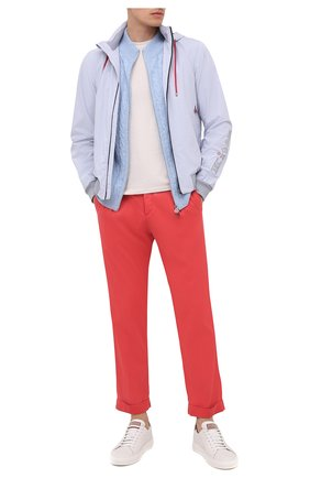 Мужские брюки KITON красного цвета, арт. UFP1LACJ07T43 | Фото 2 (Силуэт М (брюки): Чиносы; Стили: Кэжуэл; Материал внешний: Хлопок, Лиоцелл; Длина (брюки, джинсы): Стандартные; Случай: Повседневный)