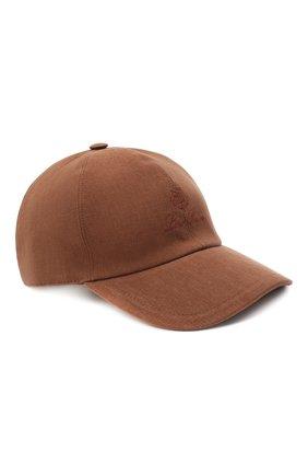 Мужской льняная бейсболка LORO PIANA коричневого цвета, арт. FAL7064 | Фото 1
