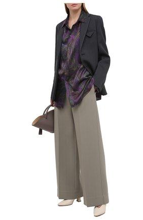 Женская шелковая рубашка RALPH LAUREN фиолетового цвета, арт. 293835443 | Фото 2