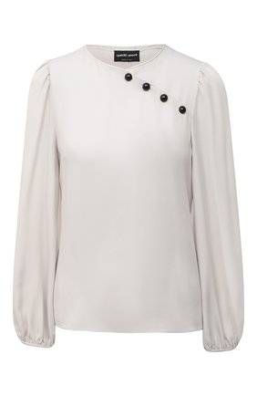 Женская шелковая блузка GIORGIO ARMANI светло-серого цвета, арт. 1SHCC017/T01WE | Фото 1