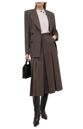 Женская шелковая блузка GIORGIO ARMANI светло-серого цвета, арт. 1SHCC017/T01WE | Фото 2
