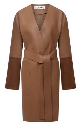 Женское кожаное пальто LOEWE коричневого цвета, арт. S359336XBS | Фото 1