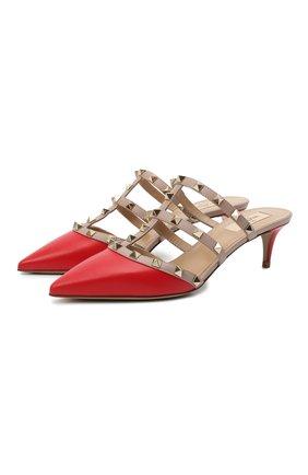 Женские кожаные мюли valentino garavani rockstud VALENTINO красного цвета, арт. VW2S0V23/V0D | Фото 1