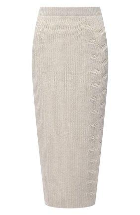 Женская кашемировая юбка LORO PIANA светло-бежевого цвета, арт. FAL3891 | Фото 1
