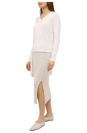 Женская кашемировая юбка LORO PIANA светло-бежевого цвета, арт. FAL3891 | Фото 2