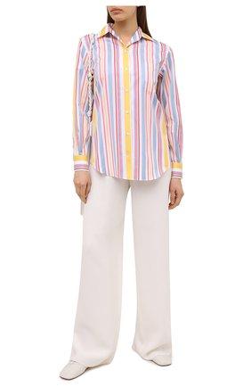 Женская хлопковая рубашка LORO PIANA розового цвета, арт. FAL6302 | Фото 2