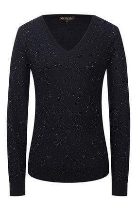 Женский пуловер из кашемира и шелка LORO PIANA темно-синего цвета, арт. FAL3303   Фото 1