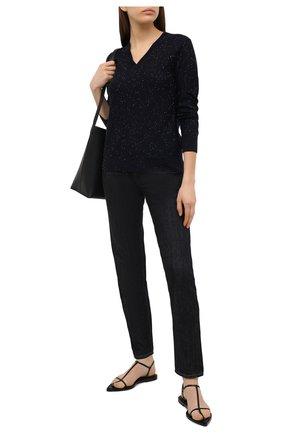 Женский пуловер из кашемира и шелка LORO PIANA темно-синего цвета, арт. FAL3303   Фото 2