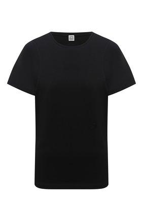 Женская хлопковая футболка TOTÊME черного цвета, арт. 211-439-770 | Фото 1