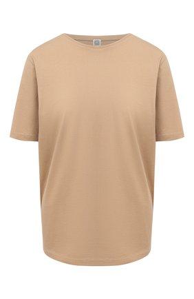Женская хлопковая футболка TOTÊME бежевого цвета, арт. 211-472-770 | Фото 1