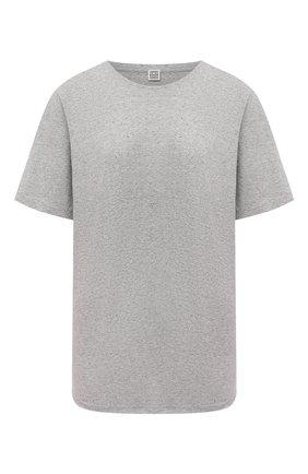 Женская хлопковая футболка TOTÊME серого цвета, арт. 211-472-776 | Фото 1