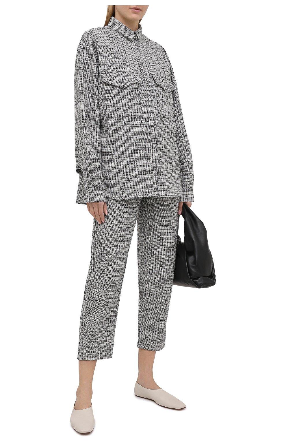 Женские брюки из смеси хлопка и льна TOTÊME черно-белого цвета, арт. N0VARA 201-209-702 | Фото 2