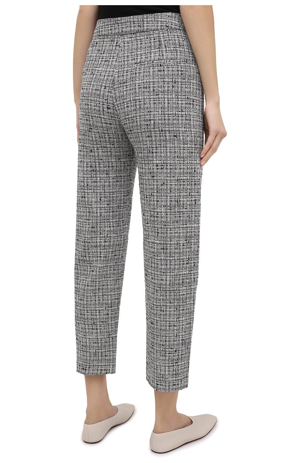Женские брюки из смеси хлопка и льна TOTÊME черно-белого цвета, арт. N0VARA 201-209-702 | Фото 4