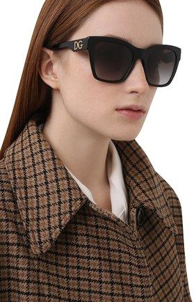 Женские солнцезащитные очки DOLCE & GABBANA черного цвета, арт. 4384-501/8G | Фото 2 (Тип очков: С/з; Оптика Гендер: оптика-женское; Очки форма: Квадратные)