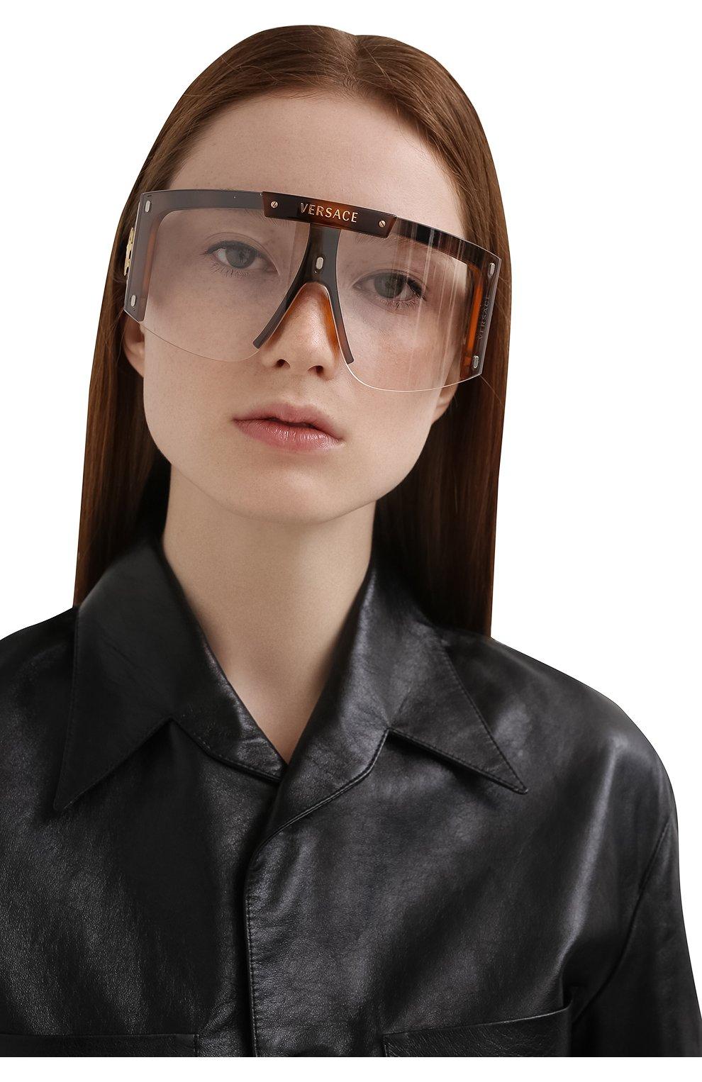 Женские солнцезащитные очки VERSACE коричневого цвета, арт. 4393-52171W | Фото 2
