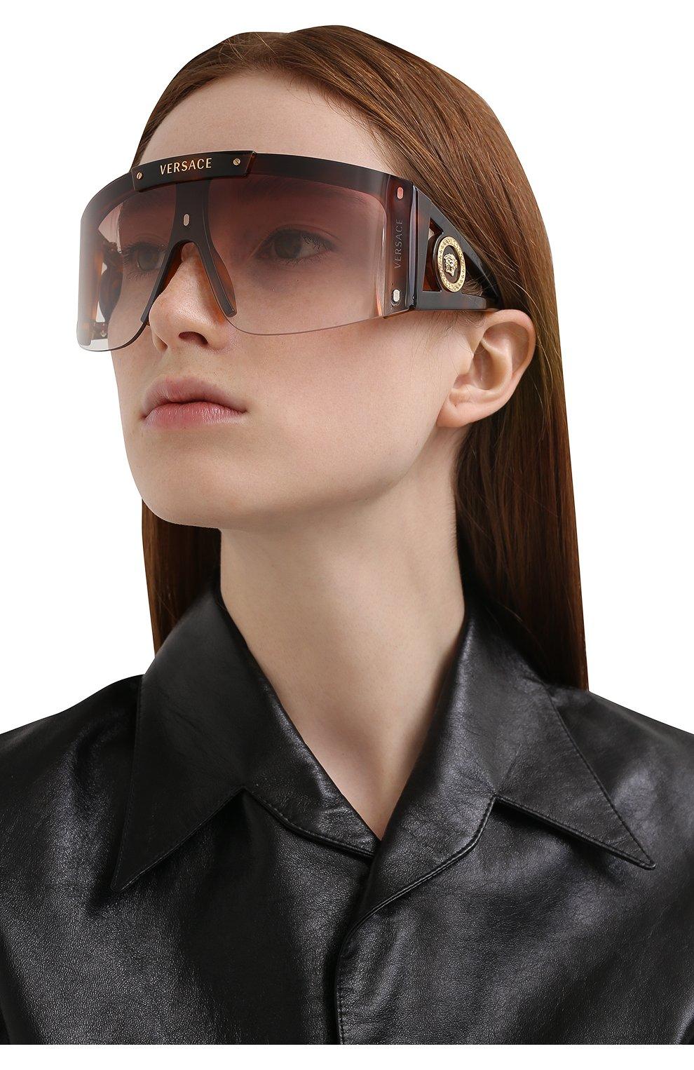 Женские солнцезащитные очки VERSACE коричневого цвета, арт. 4393-52171W | Фото 8