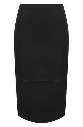 Женская кожаная юбка BOSS черного цвета, арт. 50436132 | Фото 1