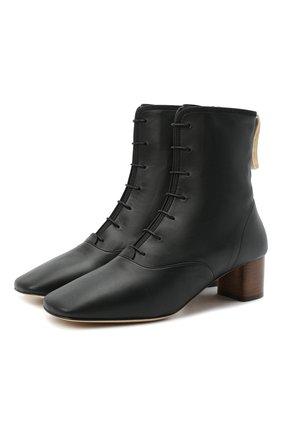 Женские кожаные ботильоны LOEWE черного цвета, арт. L815286X04   Фото 1
