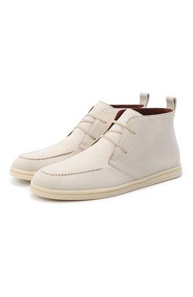 Женские замшевые ботинки namib LORO PIANA светло-бежевого цвета, арт. FAI9976 | Фото 1