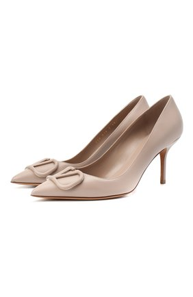 Женские кожаные туфли valentino garavani vlogo VALENTINO бежевого цвета, арт. VW2S0R78/MZF | Фото 1