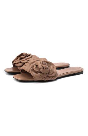 Женские кожаные шлепанцы valentino garavani 03 rose edition VALENTINO бежевого цвета, арт. VW2S0AR3/HLK   Фото 1