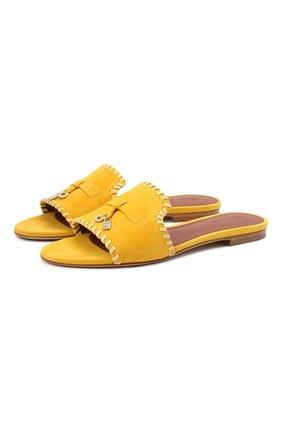 Женские замшевые шлепанцы LORO PIANA желтого цвета, арт. FAL5901 | Фото 1
