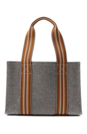 Женский сумка-шопер suitcase stripe LORO PIANA серого цвета, арт. FAL3818 | Фото 1 (Сумки-технические: Сумки-шопперы; Материал: Текстиль; Размер: large)