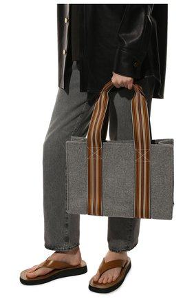 Женский сумка-шопер suitcase stripe LORO PIANA серого цвета, арт. FAL3818 | Фото 2 (Сумки-технические: Сумки-шопперы; Материал: Текстиль; Размер: large)