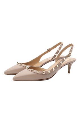 Женские кожаные туфли valentino garavani rockstud VALENTINO бежевого цвета, арт. VW2S0H14/V0D | Фото 1