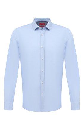 Мужская хлопковая сорочка HUGO голубого цвета, арт. 50444007   Фото 1 (Принт: Однотонные; Длина (для топов): Стандартные; Манжеты: На пуговицах; Рубашки М: Slim Fit; Случай: Формальный; Рукава: Длинные; Стили: Классический; Материал внешний: Хлопок; Воротник: Кент)
