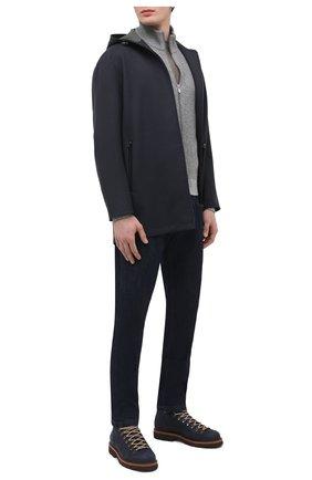 Мужская шерстяная куртка LORO PIANA темно-серого цвета, арт. FAL2841 | Фото 2 (Материал внешний: Шерсть; Кросс-КТ: Куртка; Материал подклада: Вискоза; Мужское Кросс-КТ: шерсть и кашемир; Рукава: Длинные; Стили: Кэжуэл; Длина (верхняя одежда): До середины бедра)