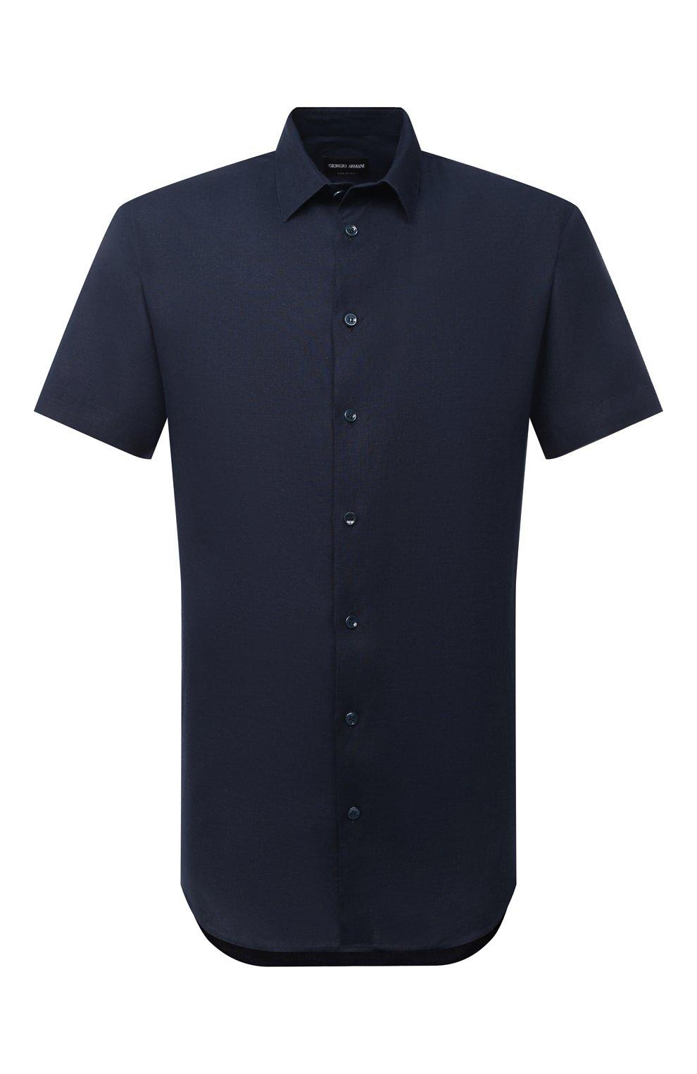 Мужская льняная рубашка GIORGIO ARMANI темно-синего цвета, арт. 8WGCCZ1V/TZ256   Фото 1