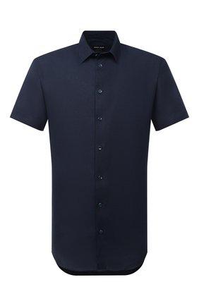 Мужская льняная рубашка GIORGIO ARMANI темно-синего цвета, арт. 8WGCCZ1V/TZ256 | Фото 1