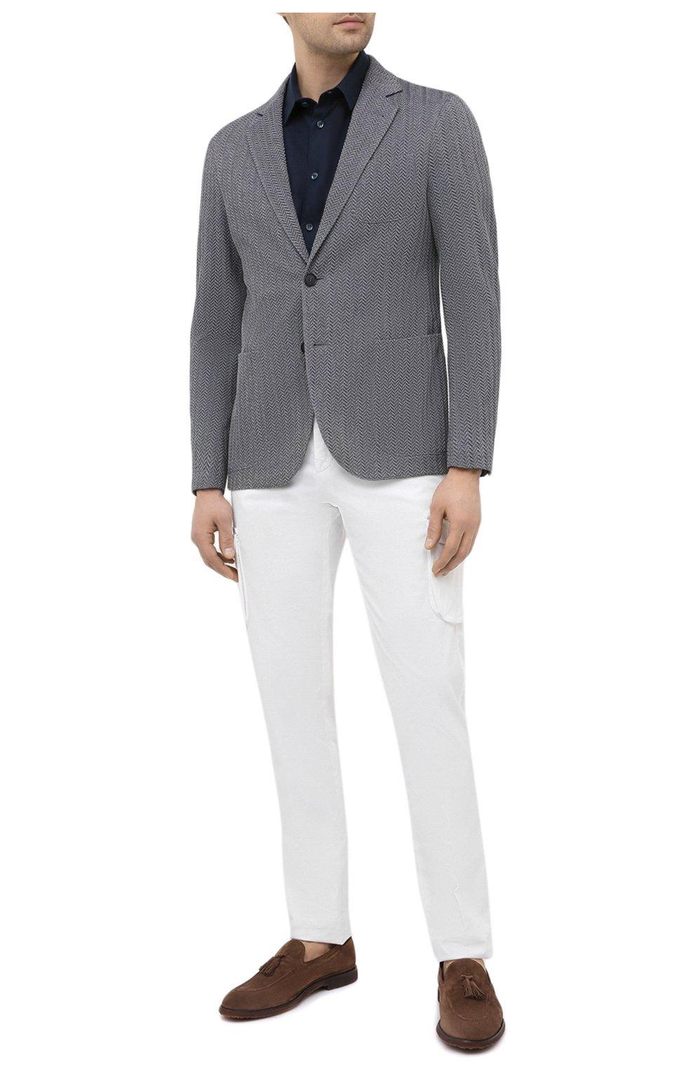 Мужская льняная рубашка GIORGIO ARMANI темно-синего цвета, арт. 8WGCCZ1V/TZ256   Фото 2