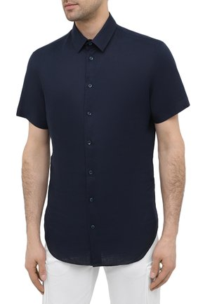 Мужская льняная рубашка GIORGIO ARMANI темно-синего цвета, арт. 8WGCCZ1V/TZ256   Фото 3