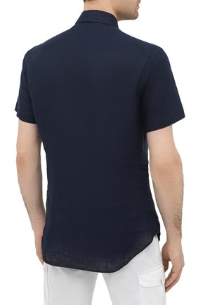 Мужская льняная рубашка GIORGIO ARMANI темно-синего цвета, арт. 8WGCCZ1V/TZ256   Фото 4