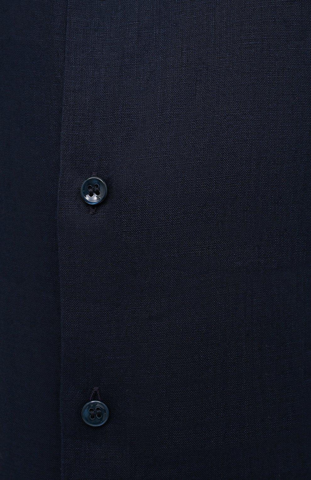Мужская льняная рубашка GIORGIO ARMANI темно-синего цвета, арт. 8WGCCZ1V/TZ256   Фото 5