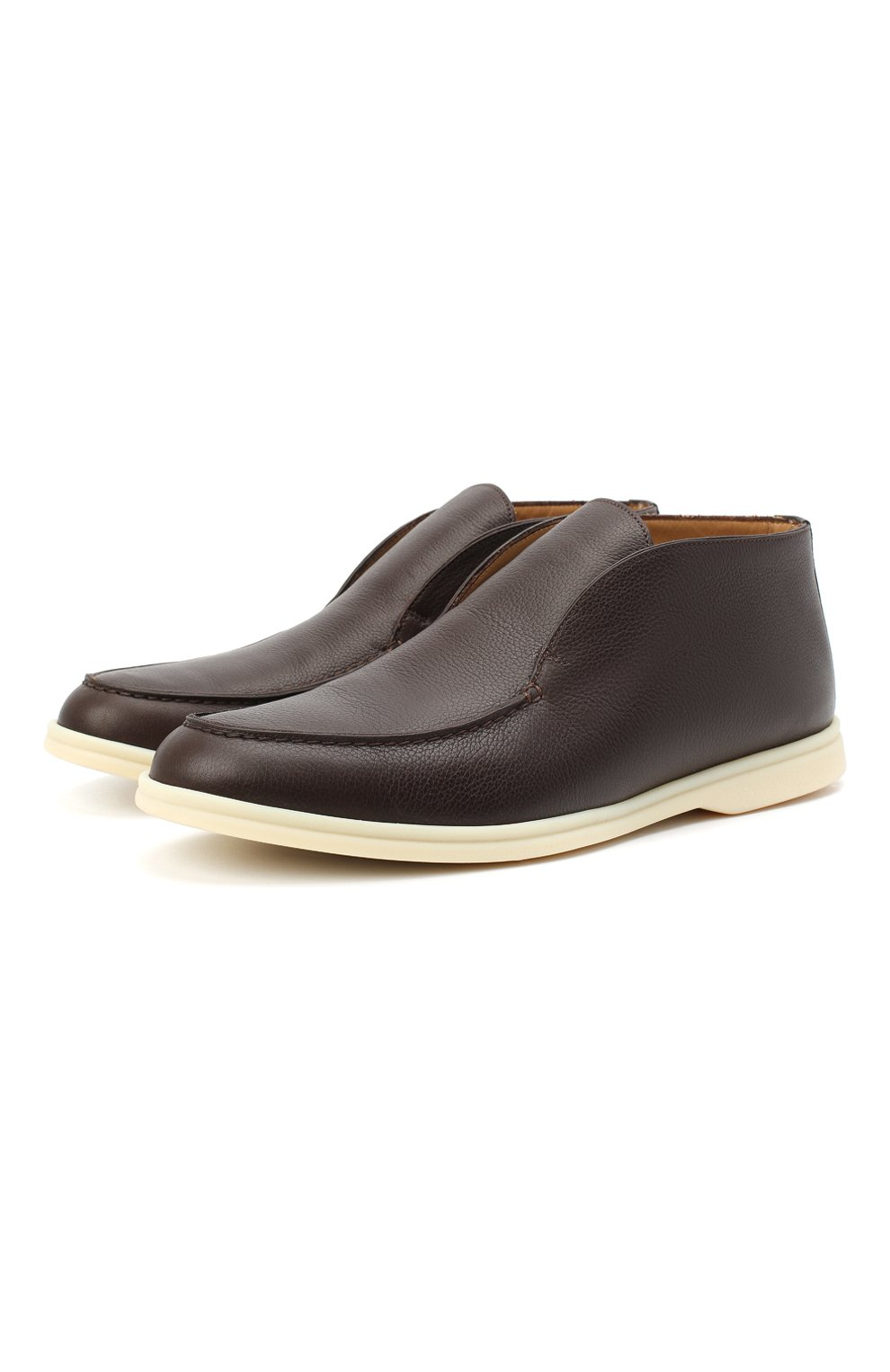 Мужские кожаные ботинки open walk LORO PIANA темно-коричневого цвета, арт. FAL0319 | Фото 1