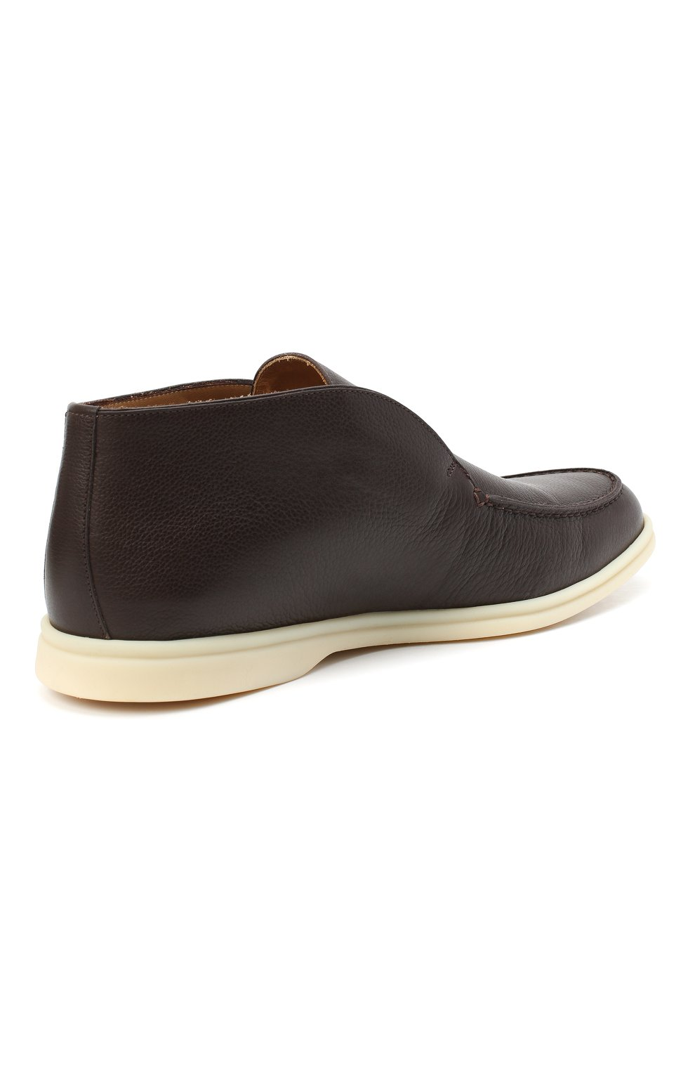 Мужские кожаные ботинки open walk LORO PIANA темно-коричневого цвета, арт. FAL0319 | Фото 4