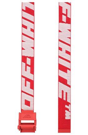 Мужской текстильный ремень OFF-WHITE красного цвета, арт. 0MRB034R21FAB001   Фото 2 (Материал: Текстиль, Синтетический материал; Случай: Повседневный)