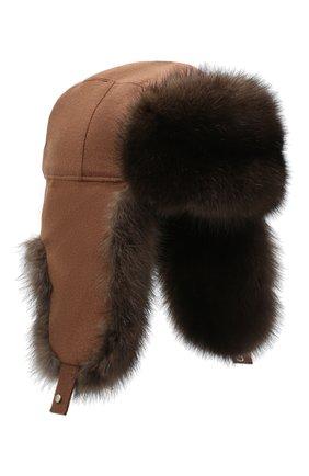 Мужская кашемировая шапка alaskan с меховой отделкой LORO PIANA коричневого цвета, арт. FAG4600 | Фото 1