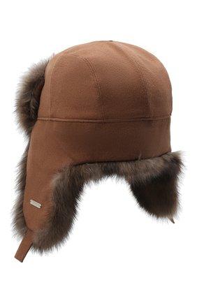 Мужская кашемировая шапка alaskan с меховой отделкой LORO PIANA коричневого цвета, арт. FAG4600 | Фото 2