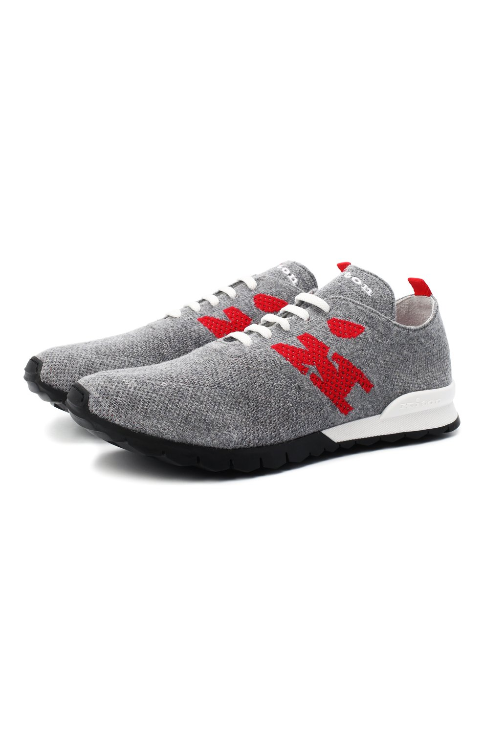 Мужские текстильные кроссовки KITON серого цвета, арт. USSKDTMN00822   Фото 1