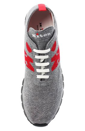 Мужские текстильные кроссовки KITON серого цвета, арт. USSKDTMN00822   Фото 5