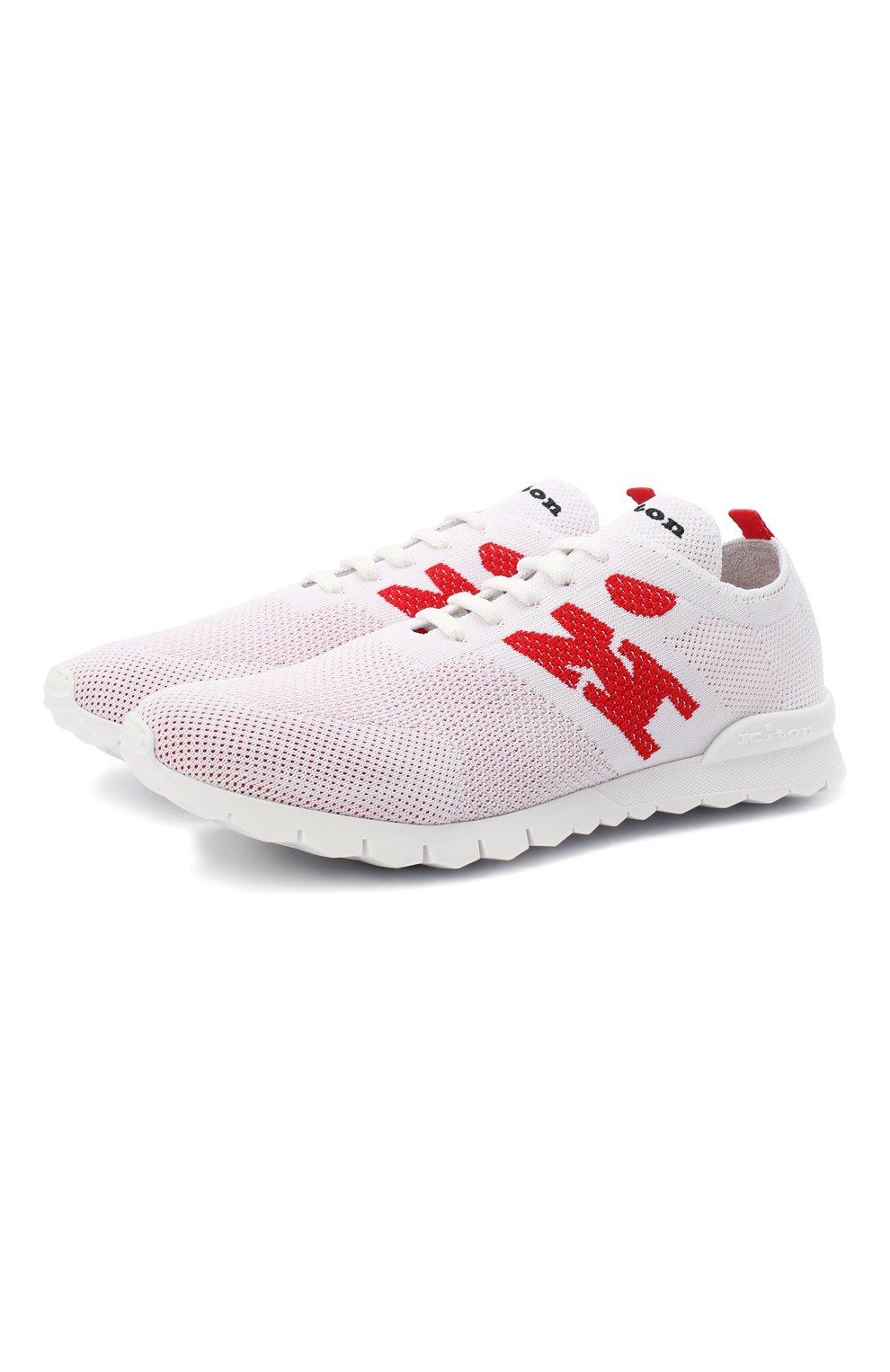 Мужские текстильные кроссовки KITON белого цвета, арт. USSKD0TN00818   Фото 1