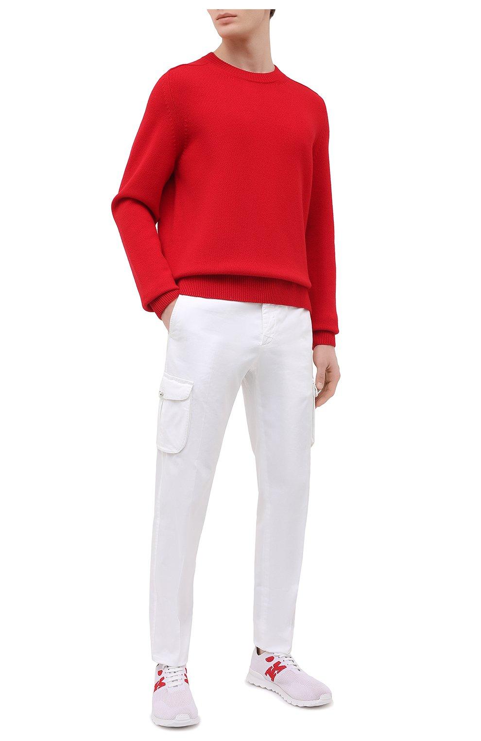 Мужские текстильные кроссовки KITON белого цвета, арт. USSKD0TN00818   Фото 2