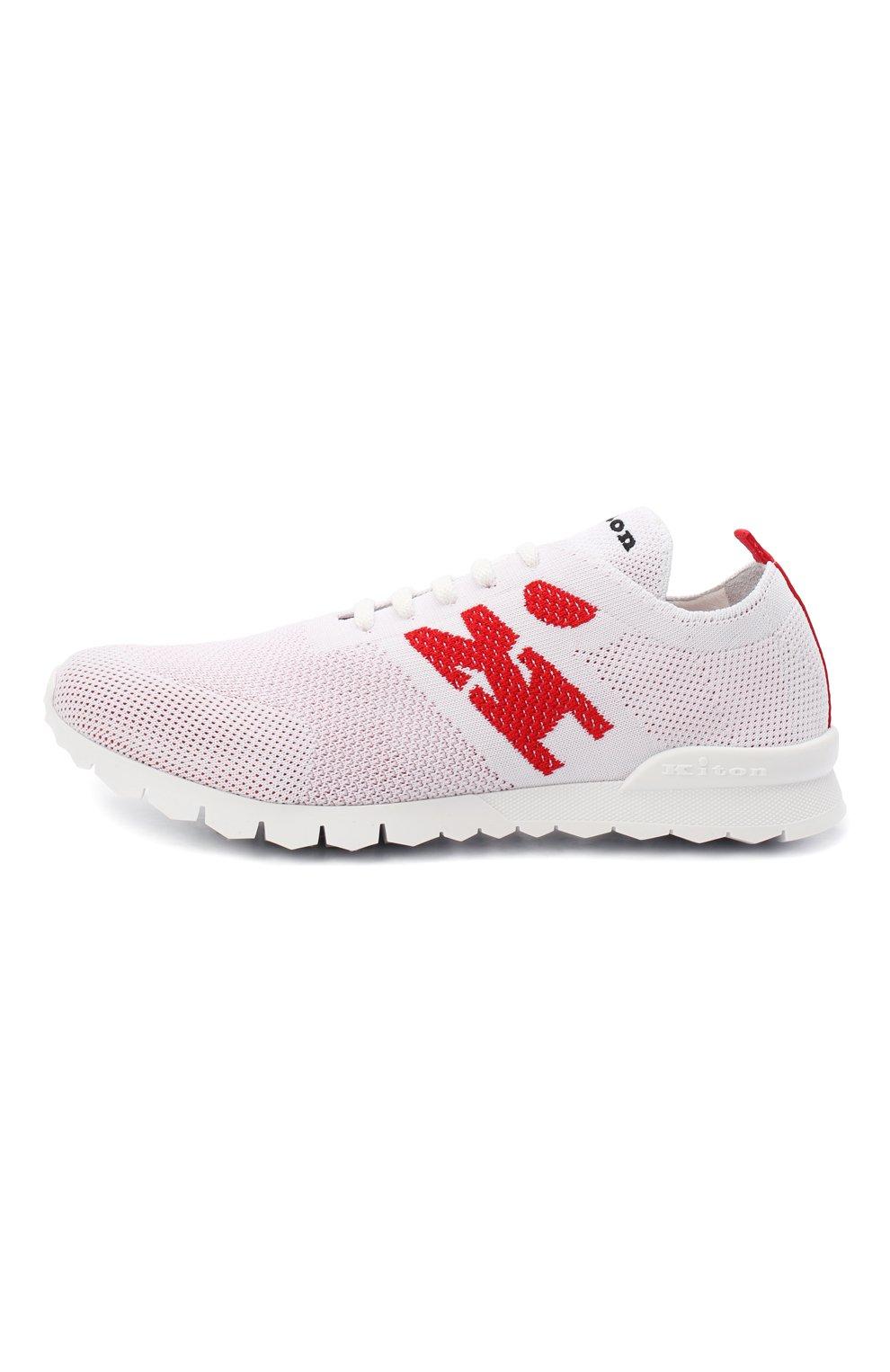 Мужские текстильные кроссовки KITON белого цвета, арт. USSKD0TN00818   Фото 3