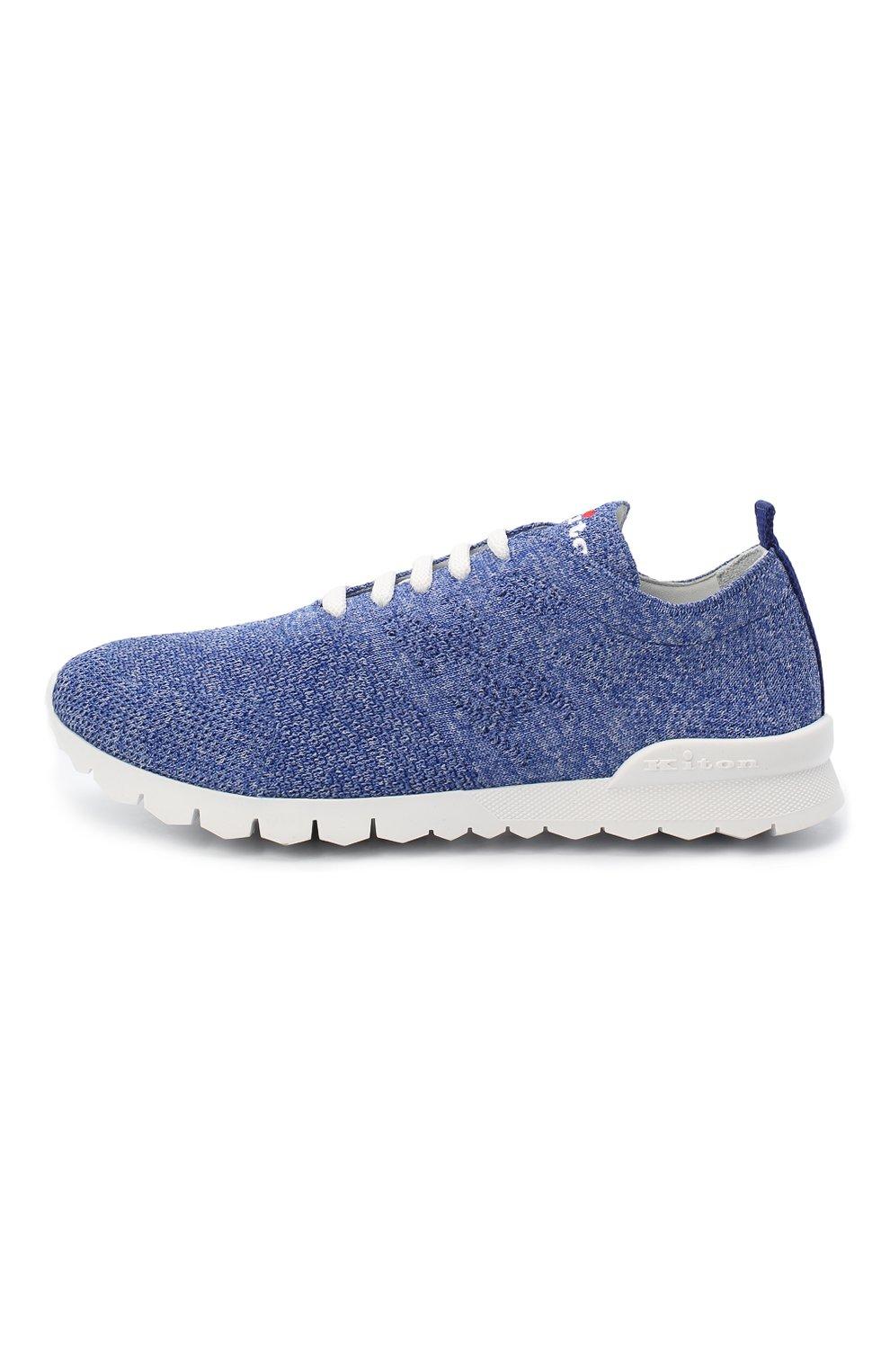 Мужские текстильные кроссовки KITON голубого цвета, арт. DSSKD0TN00819 | Фото 2