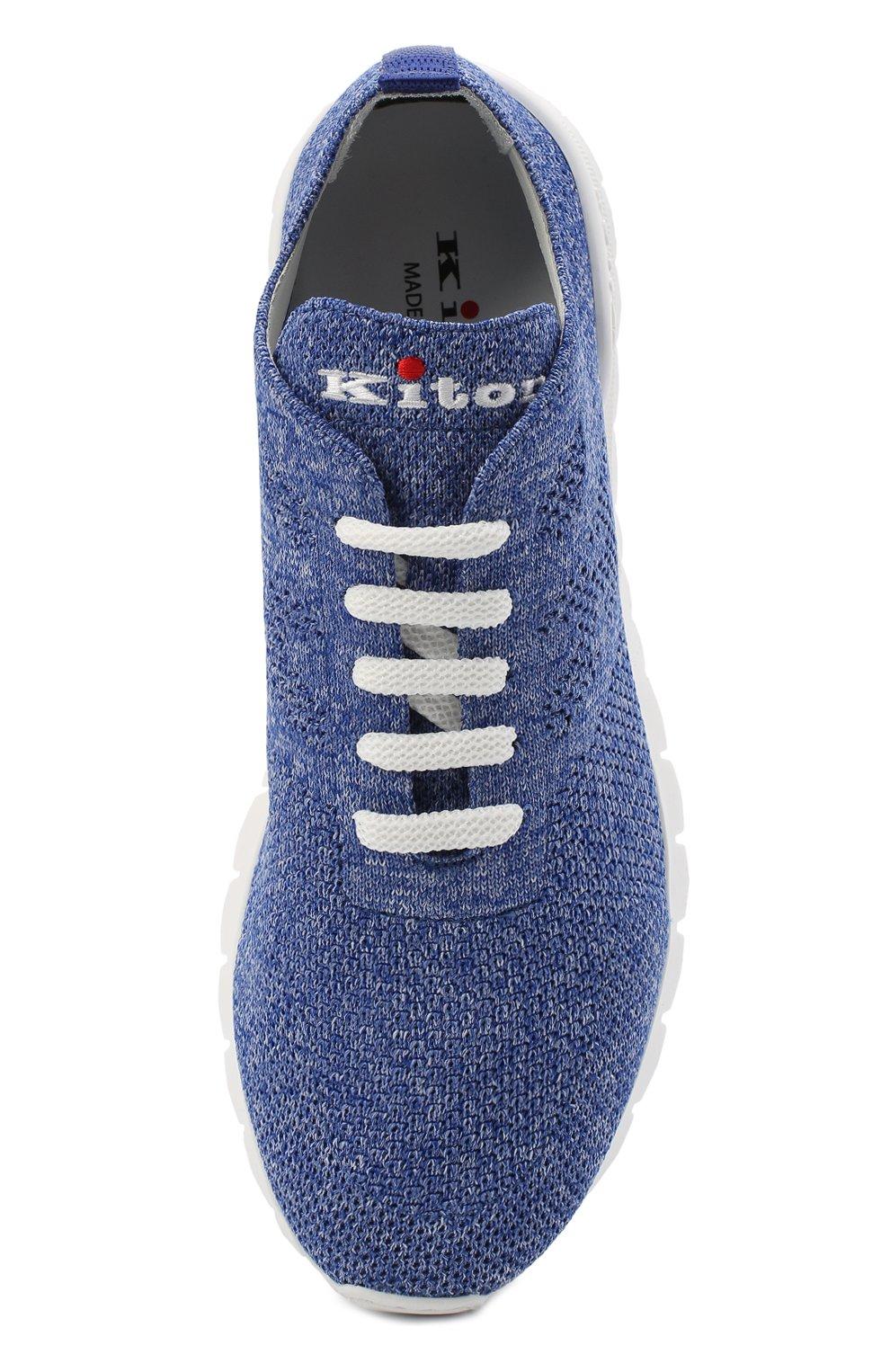 Мужские текстильные кроссовки KITON голубого цвета, арт. DSSKD0TN00819 | Фото 4