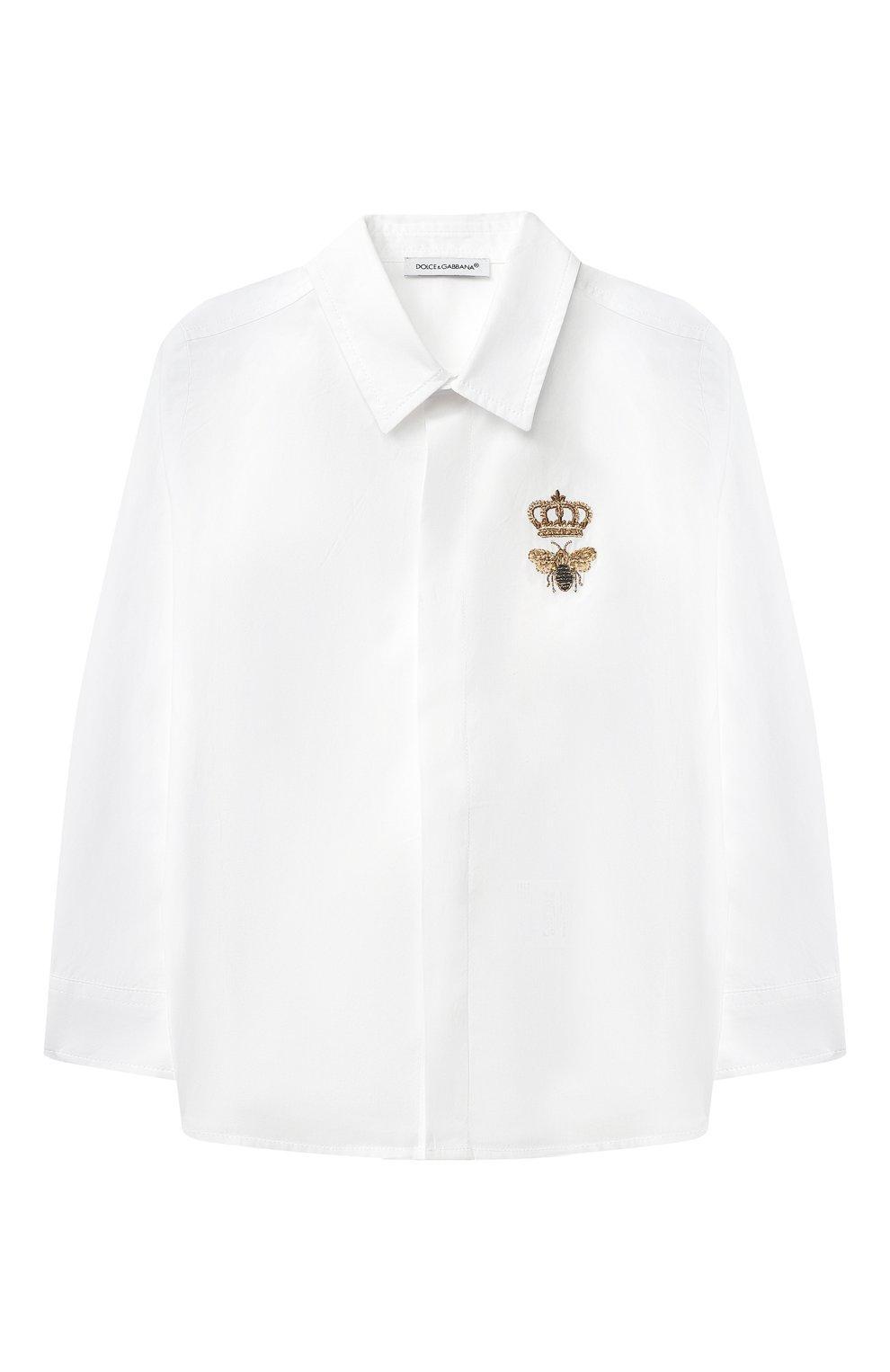 Детский хлопковая рубашка DOLCE & GABBANA белого цвета, арт. L13S14/G7YFM | Фото 1